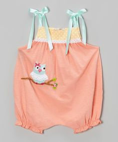 Look what I found on #zulily! Peach Owl Bubble Romper - Infant & Toddler by Victoria Kids #zulilyfinds