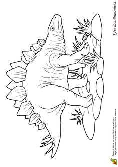Un dinosaure Stégosaure dans un dessin à colorier Dinosaur Worksheets, Dinosaur Printables, Dinosaur Activities, Dinosaur Crafts, Dinosaur Art, Coloring Pages For Kids, Adult Coloring, Colouring Pages, Coloring Books