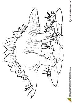Un dinosaure Stégosaure dans un dessin à colorier
