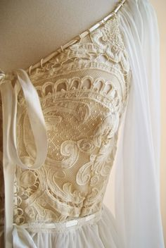 1970s Boho dream dress, custom-made in New Orleans with antique lace and silk chiffon #wedding