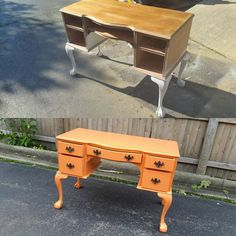 Wow! Before and After! Our customer wanted a pop of color! Vintage desk with #cececaldwell chalk and clay paint. Kissimmee Orange! https://www.instagram.com/p/BK59LaVB6Q3/