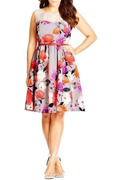 City Chic 'Pretty Posey' Belted Floral Print Fit & Flare Dress (Plus Size) available at #Nordstrom