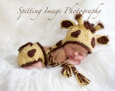 Delightfully Adorable Crochet Giraffe Earflap Hat and Diaper Cover Set - Newborn to 6 Months. $45.00, via Etsy.