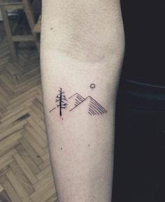 minimal mountain tattoo