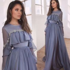 Lace Beaded Cheap African Evening Dresses Long Sleeves Chiffon Prom Dresses A-line Formal Party Bridesmaid Pageant Gowns African Evening Dresses, Long Sleeve Evening Dresses, Indian Gowns Dresses, Prom Dresses, Pageant Gowns, Sleeved Prom Dress, Long Sleeve Chiffon Dress, Beautiful Gown Designs, Beautiful Gowns