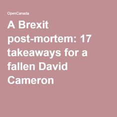 A Brexit post-mortem: 17 takeaways for a fallen David Cameron British Prime Ministers, David Cameron, A 17, How To Be Outgoing, Eu Referendum, Perspective, Articles, Perspective Photography, Point Of View
