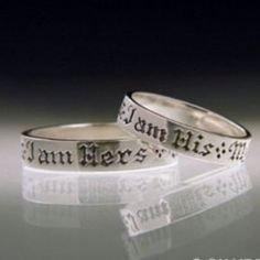 Created in sterling silver, this quote ring is designed to complement the bride's version of the same ring. The inspirational ring is handcrafted and engraved with a gothic font. Celebrate the union of two with a sterling silver wedding ring for him.