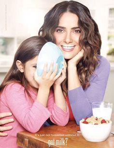 Salem Hayek! Salma Hayek, Got Milk Ads, Dairy Queen, Branding, Celebs, Celebrities, Moustache, How To Get Money, Celebrity Gossip