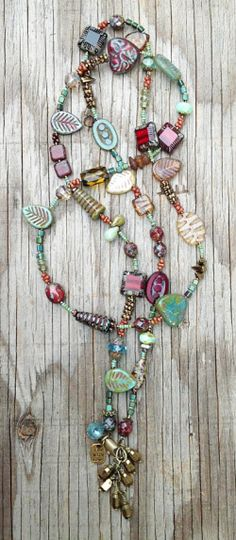 Mixed GlassWear Necklace (crimson & turquoise) by Toni McCarthy