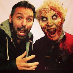 Michael J Bassett (director) and deadite Mr Roper Ash vs Evil Dead