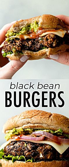 The BEST black bean burgers, grilled or baked! Meat lovers went crazy for these … The BEST black bean burgers, grilled or baked! Meat lovers went crazy for these veggie burgers. Lots of flavor with a sturdy, meaty texture. Grill or bake the black bean bur Diet Recipes, Vegetarian Recipes, Cooking Recipes, Healthy Recipes, Healthy Black Bean Recipes, Vegetarian Cooking, Healthy Beans, Vegetarian Sandwiches, Vegetarian Meals For Kids