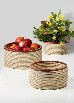 Natural Raffia Baskets with Wood Trim, Set of 3 - Decorative Storage Baskets | Serene Spaces Living