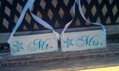 Beach Wedding SignS Mr. & Mrs. Starfish wedding chair signs Beach Wedding Decor Turquoise