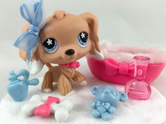 Littlest Pet Shop ULTRA RARE Cocker Spaniel #568 w/Fuzzy Bed & Accessories #Hasbro