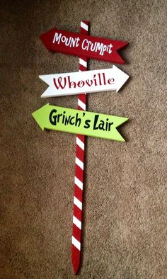 Grinch Christmas Arrows by WoodlandAffair on Etsy Could easily use this as inspiration to make one for our own yard.