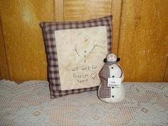 Primitive Country Snowman Shelf Sitter Christmas Pillow Handmade