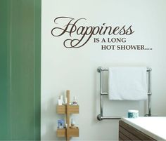 WALL ART QUOTE Sticker happiness long shower bathroom