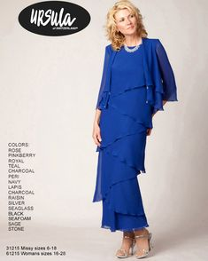 Mother of the Bride Ursula Dress with Jacket style 61215 - This sleeveless floor length chiffon dress has tiers and comes with a sleeve matching jacket. Plus Size Cocktail Dresses, Plus Size Gowns, Mother Of The Bride Dresses Long, Mothers Dresses, Best Prom Dresses, Mob Dresses, Ursula Dresses, Hippie Dresses, Dressy Dresses