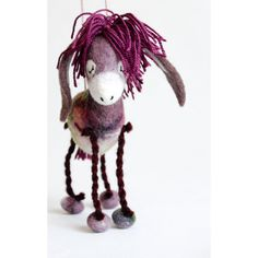Bertha Felt Donkey. Art Toy. Felted Animal Soft toy plush Puppet, soft gift for kids Handmade nursery room decor purple. red pink green. ($102) found on Polyvore featuring felt donkey and felt toy