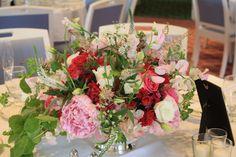Nice free form arrangement in a silver Revere Bowl Organic arrangement Otesaga Cooperstown Wedding Karen Splendido
