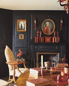 "Dark almost black walls really recede and feature the contents of the room. The home of America's first male decorator Henry Davis Sleeper (also called ""Beauport"") Historical Interior, Decor, Pioneer House, Home, Decor Design, Dark Interiors, Beautiful Interiors, Interior Design, House Interior"