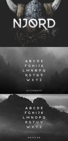 NJØRD is a display font with a strong personality. Bold and masculine, it comes with a series of alternates to spice up your designs even more. Perfect for graphic design projects related to sports, construction and adventure. Typeface Font, Hand Lettering Fonts, Cursive Fonts, Handwriting Fonts, Typography Fonts, Typography Design, Graphic Design Fonts, Font Design, Vector Design