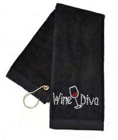 Crystal Wine Diva Black Terry Cloth Golf Towel by Navika.  Buy it @ ReadyGolf.com