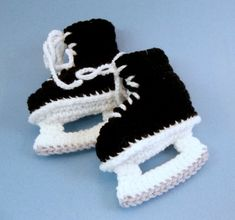 Baby Hockey Skates Baby Booties Crochet Black Skates  3 to 6 months