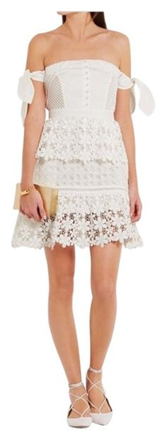 5a2bbcf23cf Self-portrait White Guipure Lace And Twill Mini Dress. Free shipping and  guaranteed authenticity. Tradesy