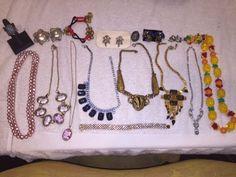 FUN COSTUME VINTAGE JEWELRY LOT!- NECKLACES, BRACELETS, RINGS & EARRINGS