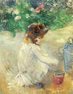 """amare-habeo: """"  Berthe Morisot (French, 1841 - 1895) Sand cakes (Les Pâtés de sable), 1882 Oil on canvas, 92 x 73 cm """""""