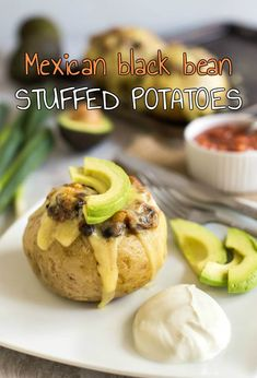 Mexican black bean stuffed potatoes