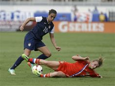 Carli Lloyd had two goals in a 7-0 rout of Russia in Boca Raton, Fla., on Feb. 8, 2014. (Alan Diaz/AP)