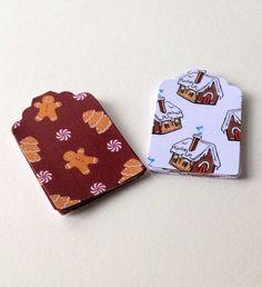 Christmas Gingerbread Theme Blank Gift Tags,2 Designs 30pk, Xmas Tags