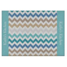 Beach Tones Chevron Glass Cutting Board ...............This design features a Beach Tones Chevron pattern. These colors are can be found at a beach such as sand, wet sand, water and sky. The TEXT on both sides (left and right) can be customized with your own name. Check out my store for more colors. .