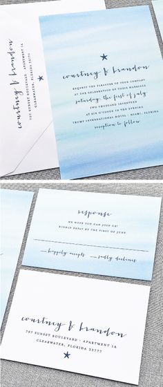 NEW Courtney Aqua Blue Watercolor Beach Wedding Invitation with Navy Starfish - Perfect for a beach or destination wedding!