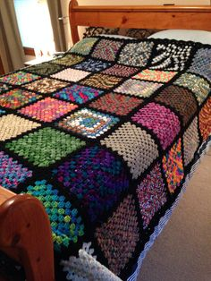 Queen/King size Granny Square Blanket/Afghan by BarbarasAfghans