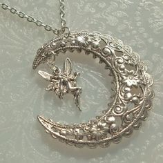 Silver Crescent Moon and Fairy Pendant