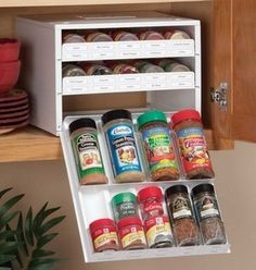 This way your spices don't have to match! what aclever storage solution and your spices remain in the dark as they are supposed to be