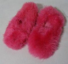 Vintage Fuzzy Pink Slippers 60s Shearling Fur sz 10 Unworn POP MOD @ Ebay