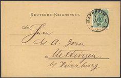 Germany, German Empire, Deutsches Reich 1880, 3 Pfg.dkl'grün, Einzelfrankatur auf Drucksachen-Postkarte von Mannheim nach Uettingen bei Würzburg, gepr. Zenker BPP (Mi.-Nr.39 aa EF/ Mi.EUR 130,--). Price Estimate (8/2016): 30 EUR.