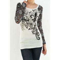 Vocal Lacy Fleur de Lis Long Sleeve T-Shirt.