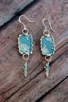 Broken China Jewelry Earrings Blue Scrolls by Robinsnestcreation1, $34.95