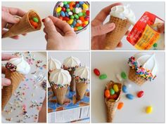 How flipping adorable are these Pinata Cones for a birthday celebration or a sweet end to a summer BBQ? Use sugar cones, white meringue cookies (available at most grocery stores) a tube of white icing, sprinkles & small candies:  - Fill cones with candy - Attach meringue to cones with icing - Over plate: pour sprinkles onto icing and press into place - Cut crosses into cone box to create a holding stand - Freeze for 5 minutes to set - Let guests know there are treats inside and enjoy!