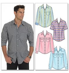 McCall's Men's Shirts pattern M6044.  I like the front yoke variation of this pattern and the relaxed fit. I have some plaid fabric and a solid Bamboo fabric washed and ready for this.     http://mccallpattern.mccall.com/m6044-products-10742.php?page_id=103