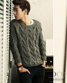 Dark-grey Significant Rope Knit Design Korean Fashion Sweater
