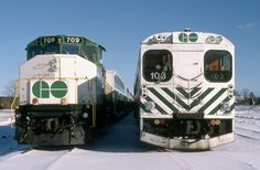 A near Christmas Saturday afternoon finds opposing ends of weekend stored GO Transit push-pull commuter equipment at CP Guelph Junction. GO GP40-2(W) 709 was built by GMD London in 1975. Following the introduction of F59PH's she would be conveyed to Canadian National in 1991 and renumbered to CN 9676. The former GO unit continues in service to this day, currently in the province of Alberta. Note the brass bell above the cab windows. Cab control car 103 was constructed by Hawker Siddeley in… Travel Set, Train Travel, Go Transit, Underground Tube, Via Rail, Canadian National Railway, Ferrari Racing, Railroad Pictures, Brass Bell