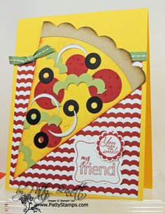 Punch Art low cal pizza! stamp class sample by Patty Bennett
