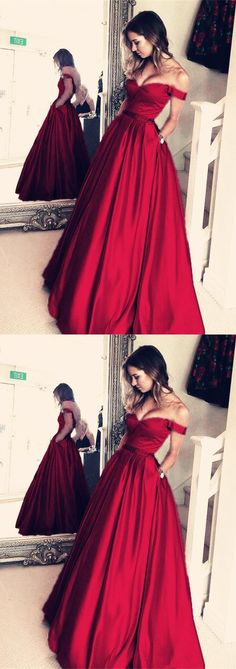 Burgundy Satin V-neck Long Prom Dresses Off Shoulder Evening Gowns 2018 #longpromdresses
