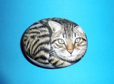 Hand Painted Stone Cat  by KanetisStones on Etsy